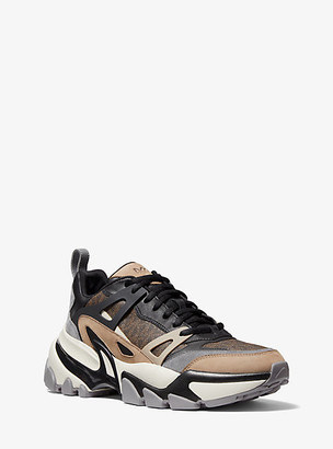 Michael Kors Nick Logo and Leather Trainer - Brown