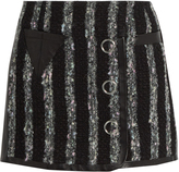 Alexander Wang Leather-trimmed striped tweed mini skirt