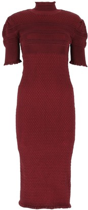 Fendi Turtleneck Knit Short-Sleeved Dress