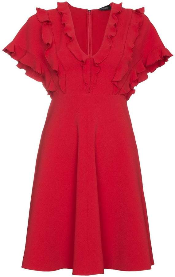 Giambattista Valli Ruffled dress with v neck