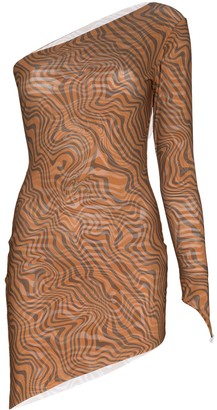 MAISIE WILEN One-Sleeve Graphic-Print Mini Dress