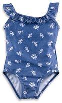 Baby Buns Flower 1-Piece Swimsuit in Denim
