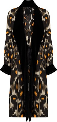 R 13 Leopard-Print Robe Coat