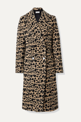 By Malene Birger Belloa Double-breasted Animal-print Wool-blend Coat - Brown