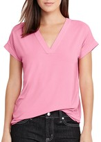 Lauren Ralph Lauren V-Neck Mixed Media Top