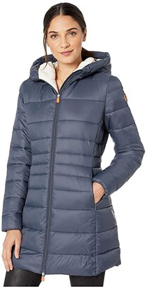 Save The Duck Giga 9 Puffer Coat with Sherpa Lining (Ebony Grey) Women's Clothing