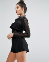 Missguided High Neck Lace Detail Ruffle Romper