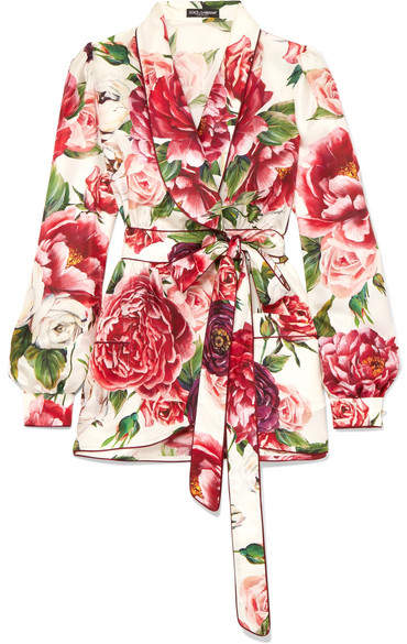 Dolce & Gabbana Embellished Floral-print Silk-twill Wrap Top - Ivory