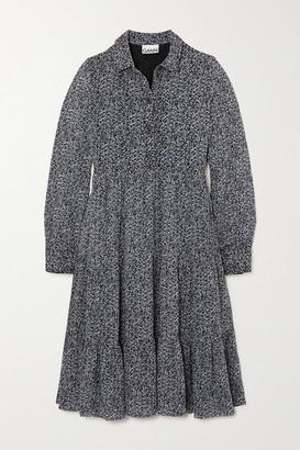 Ganni Tiered Floral-print Georgette Midi Shirt Dress - Charcoal