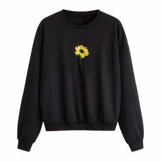Cocila Women Ladies Sweatshirt Casual Crew Neck Long Sleeve Pullover Sunflower Print Tops Simple Teen Girls Tees(XL