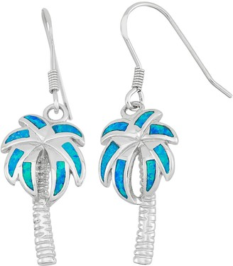 Lab-Created Blue Opal Sterling Silver Palm Tree Drop Earrings