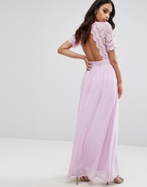 Club L Maxi Dress With Crochet Lace Detail & Cut Out Back