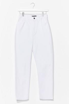 Nasty Gal Womens Distressed Straight Leg Jean - White - 12