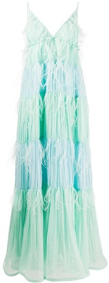 Alberta Ferretti Feather-Embellished Maxi Dress