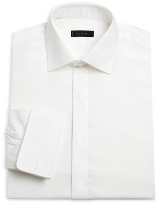Saks Fifth Avenue Contrast Houndstooth Formal Cotton Dress Shirt