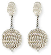 Oscar de la Renta Beaded Ball Drop Clip-On Earrings