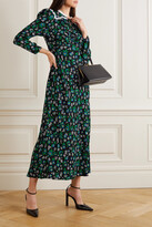 Thumbnail for your product : Rixo Ada Lace-trimmed Floral-print Crepe Midi Dress - Black