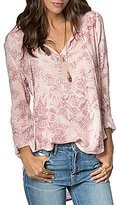 O'Neill Whitney Paisley-Printed Split V-Neck Tie-Detail Long-Sleeve High-Low Top