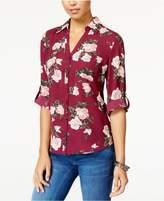 BCX Juniors' Printed Roll-Tab Shirt