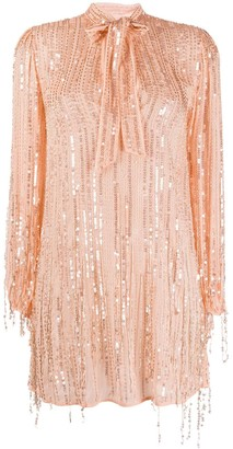 Elisabetta Franchi Sequinned Pussy-Bow Dress