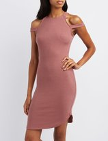 Charlotte Russe Ribbed Cold Shoulder Bodycon Dress