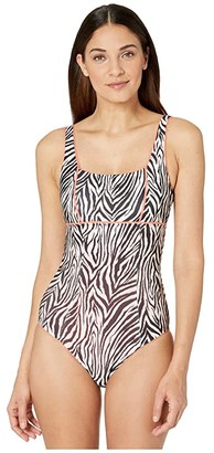 Becca by Rebecca Virtue Animal Kingdom Olivia Square Neck One-Piece (Zebra) Women's Swimsuits One Piece