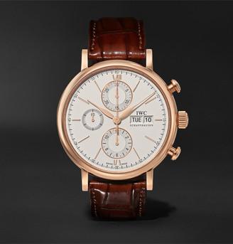 IWC SCHAFFHAUSEN Portofino Automatic Chronograph 42mm 18-Karat Gold And Alligator Watch