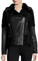 Vince Camuto Contrast Faux Fur and Leatherette Jacket