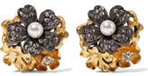 Elizabeth Cole Lila Grace Gunmetal And 24-Karat Gold-Plated, Faux Pearl And Swarovski Crystal Earrings