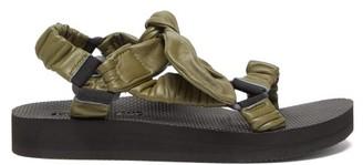 Arizona Love Trekky Choux Bow-strap Leather Sandals - Khaki