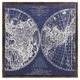 Aurora Vintage World Map Decorative Wall Art - Blue/White