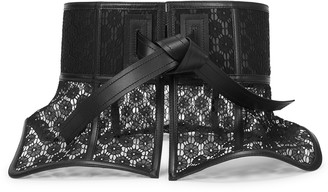 Loewe Obi black peplum guipure lace belt