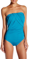 Badgley Mischka Solid Draped Bandeau One-Piece Suit