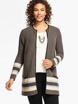 Talbots Merino-Wool Border Striped Sweater Jacket