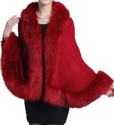 Helan Apparel Helan Women's Faux Fox Fur Shawl Cloak Cape Coat With Floral