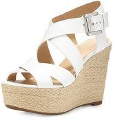 MICHAEL Michael Kors Celia Leather Mid-Wedge Espadrille Sandal, Optic White