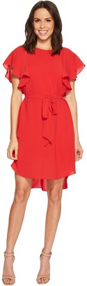 Adrianna Papell Women's Gauzy Crepe Flutter Sleeve Dress