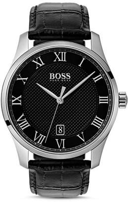 HUGO BOSS BOSS HUGO by Master Black Croc-Embossed Leather Watch, 41mm