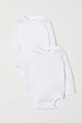 H&M 2-pack Long-sleeved Bodysuits - White