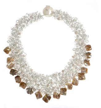 Aeravida Handmade Clear Stone Cluster Statement Necklace