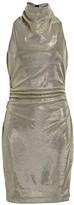 Halston Draped Mockneck Metallic Mesh-Knit Dress