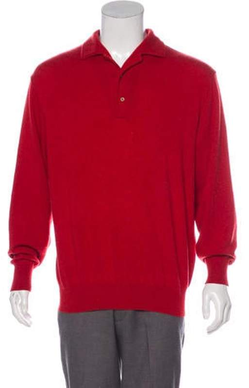Loro Piana Cashmere Polo Sweater red Cashmere Polo Sweater