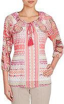 Allison Daley Tassel-Tie 3/4 Sleeve Printed Peasant Blouse