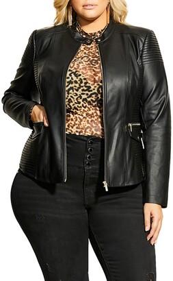 City Chic Topstitch Detail Faux Leather Biker Jacket