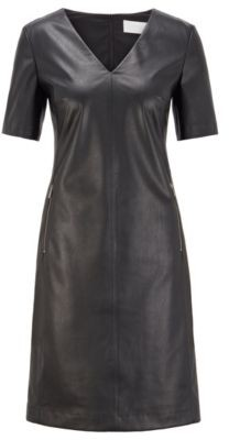 HUGO BOSS Shift dress in stretch faux leather with zip detailing