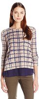 Lucky Brand Women's Plaid Printed Pullover Sweater