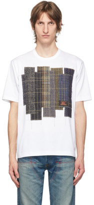 Junya Watanabe White and Blue Cotton Patchwork T-Shirt
