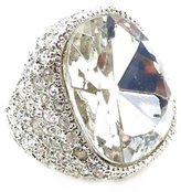 Kenneth Jay Lane Silver & Crystal Pave Headlight Ring