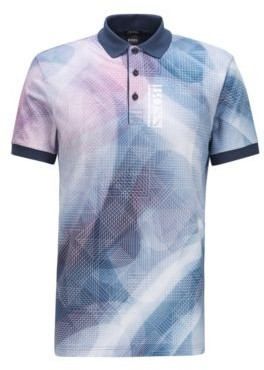 HUGO BOSS Pure Cotton Polo Shirt With Gradient Digital Print - Dark Blue