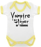1StopShops Funny Vampire Slayer in Training Baby Bodysuit with Trim and Black Print